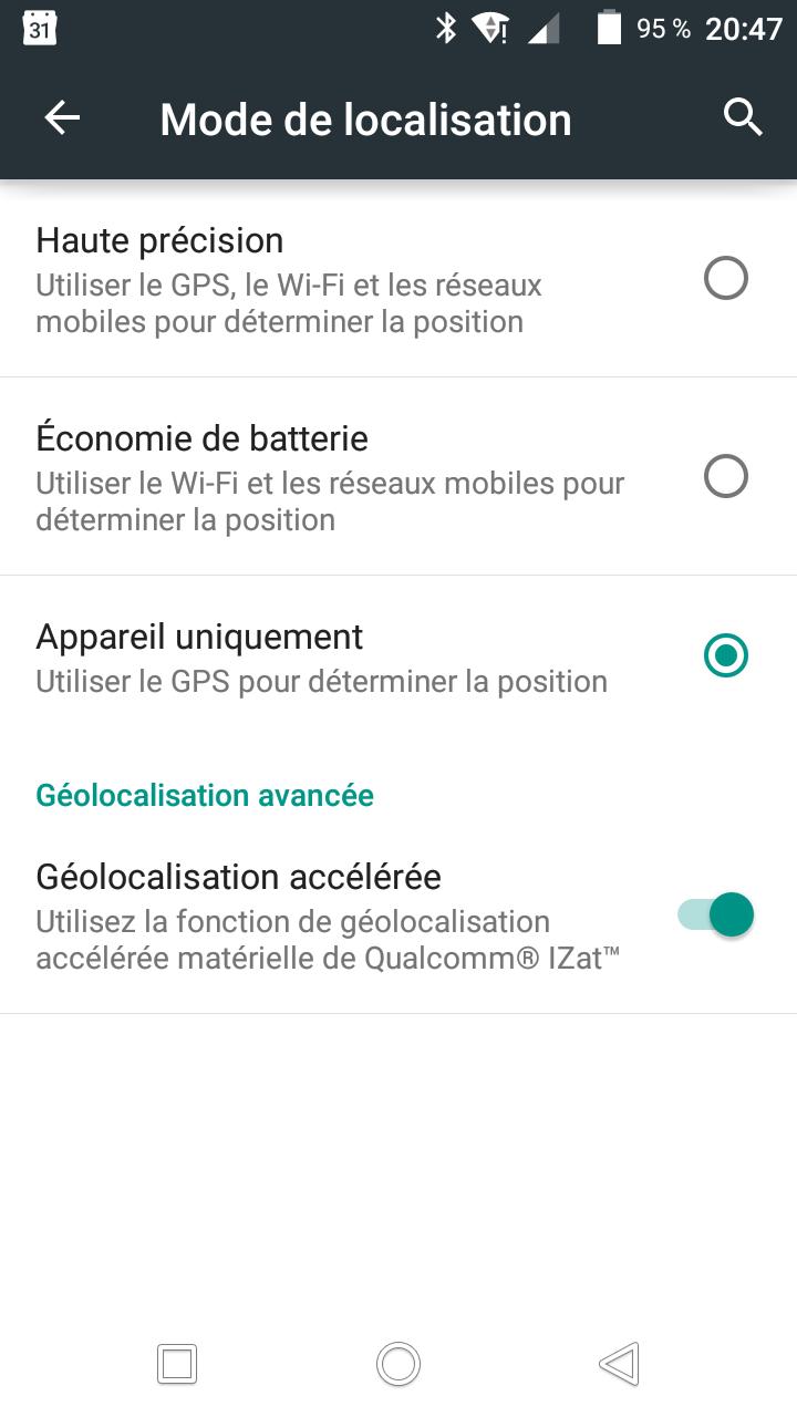 Wifi option géolocalisation