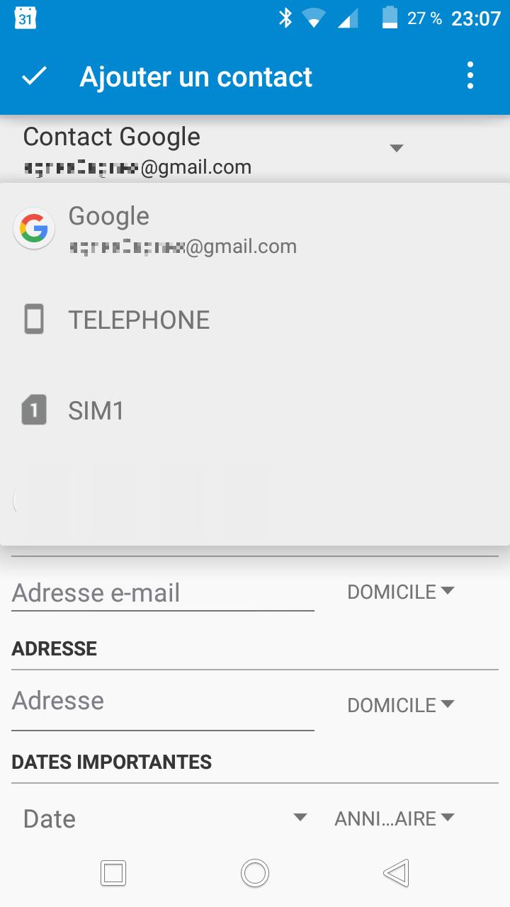 ajout contact sélection
